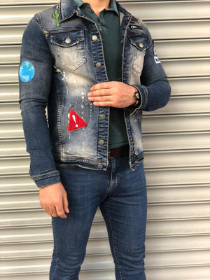Blue Troublemaker Printed Denim Jacket B100 Streetwear Denim Jacket