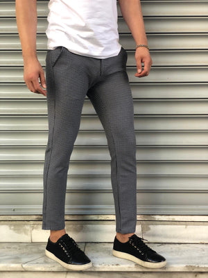 Black Pattern Slim Fit Casual Pant DJ114 Streetwear Pant