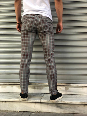 Gray Red Checkered Slim Fit Casual Pant DJ156 Streetwear Pant