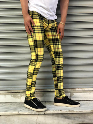 Yellow Mixed Colour Checkered Slim Fit Casual Pant DJ128 Streetwear Pant