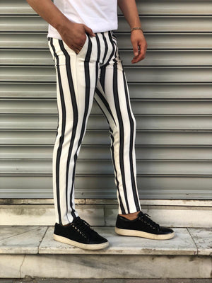 White Black Blue Striped Slim Fit Casual Pant DJ147 Streetwear Pant