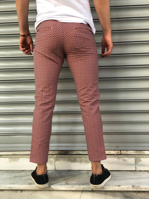 Bordeaux Pattern Slim Fit Casual Pant DJ116 Streetwear Pant