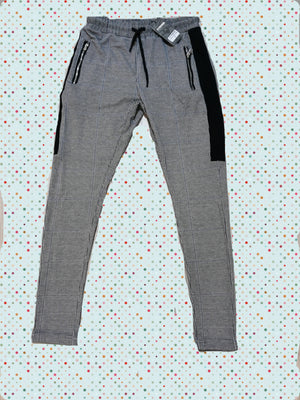Light Gray Side Striped Checkered Casual  A48 Streetwear Jogger Pants