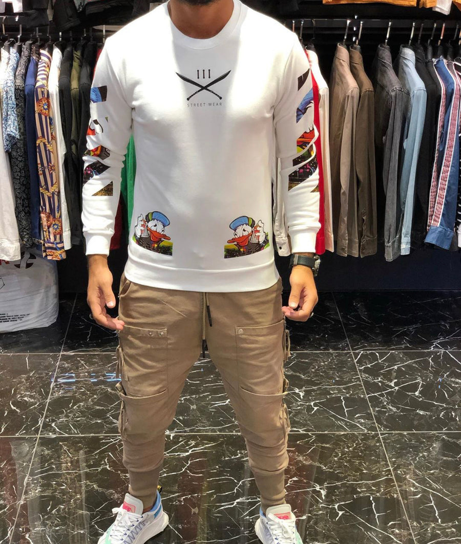 Sneakerjeans White Comic Printed Sweater ES63