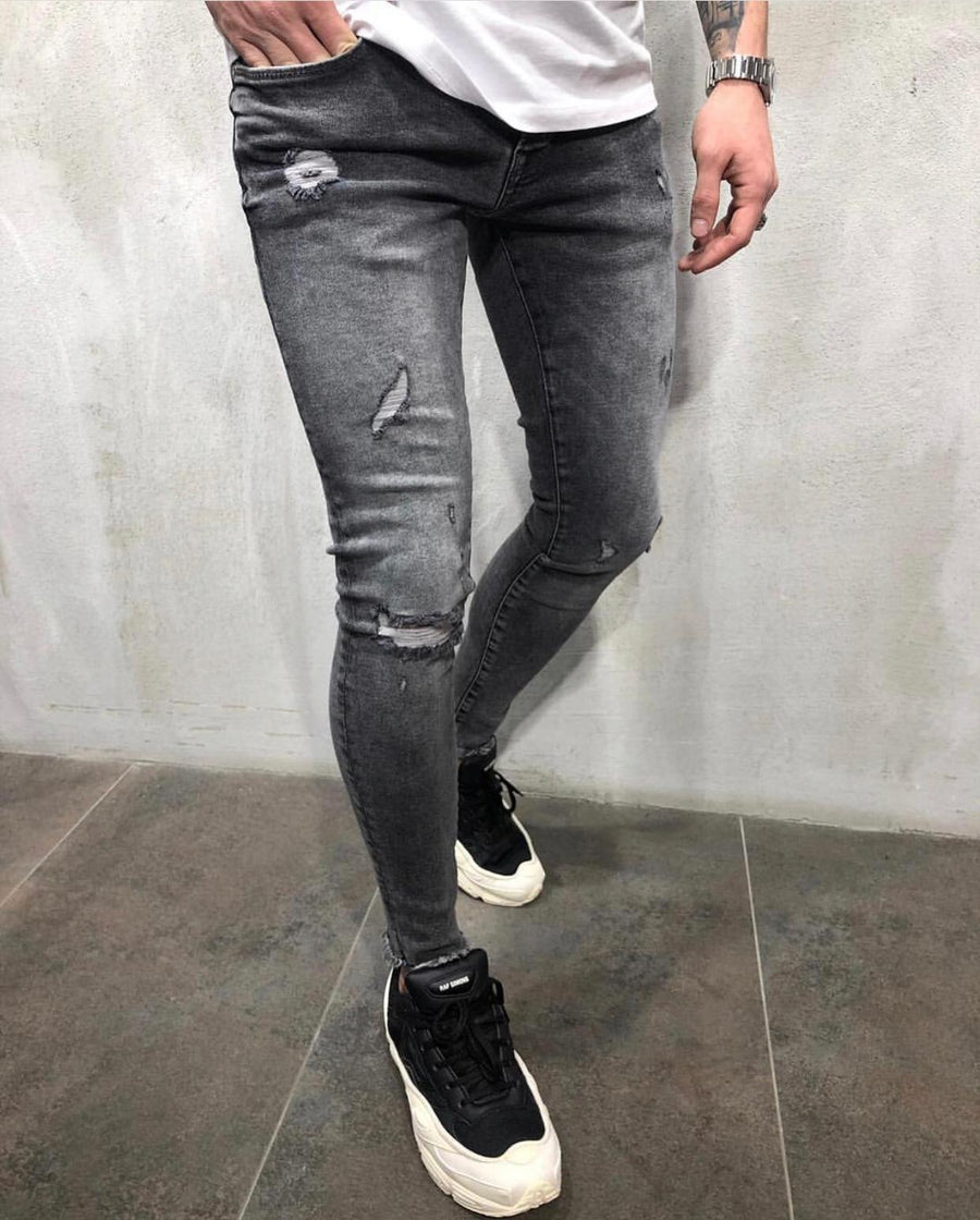 Gray Washed Ripped Skinny Jeans AY607 Streetwear Jeans - Sneakerjeans