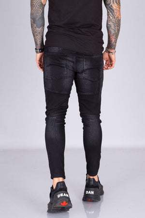 Black Colour Dot Front Zip Skinny Fit Jeans  BI-035 Streetwear Jeans - Sneakerjeans