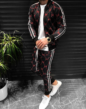 Black Red Printed Tracksuit KB432 Streetwear Mens Tracksuit - Sneakerjeans