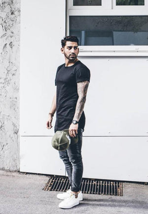 Black Oversized Basic Slim Fit Mens T-Shirt KB451 Streetwear Mens T-Shirts - Sneakerjeans