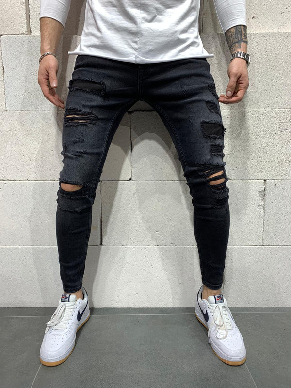 Sneakerjeans Black Ripped Jeans AY712
