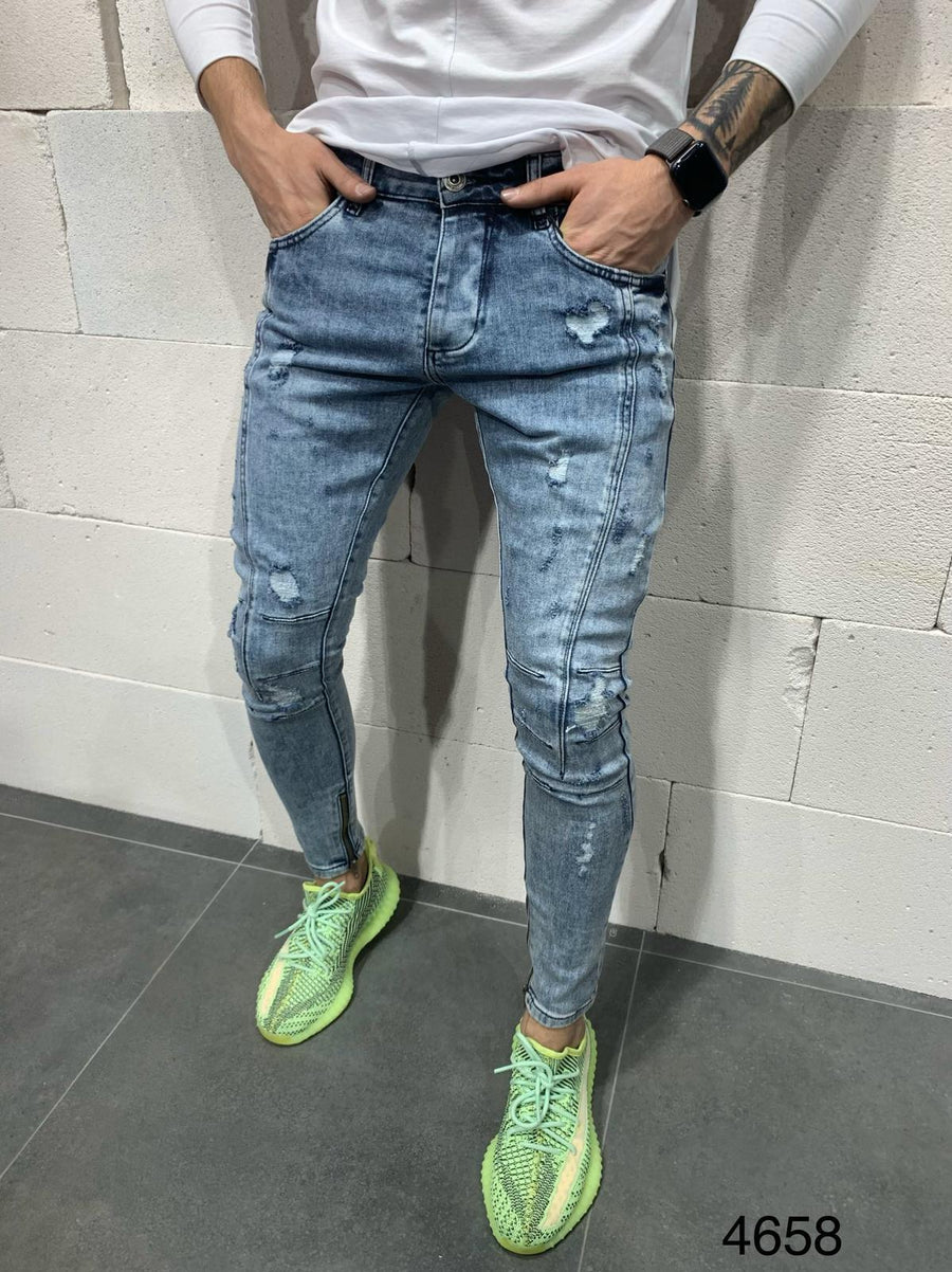 Sneakerjeans Blue Ripped Jeans AY725
