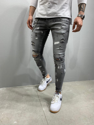 Sneakerjeans Gray Ripped Skinny Jeans AY756