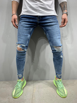 Sneakerjeans Blue Ripped Jeans AY733