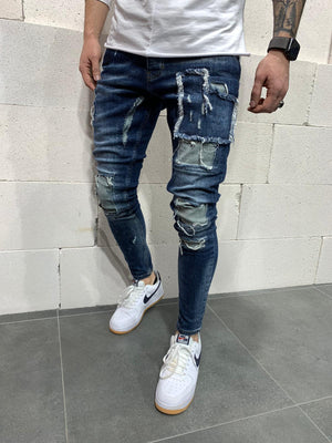 Sneakerjeans Blue Patched Skinny Jeans AY763