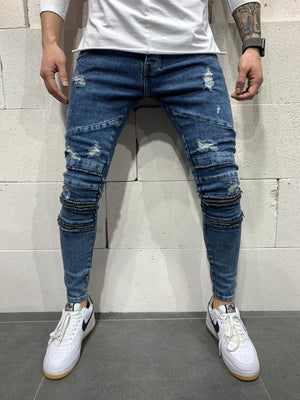 Sneakerjeans Blue Skinny Ripped Jeans AY759