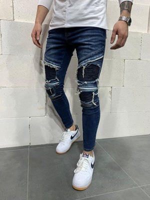 Sneakerjeans Blue Patched Skinny Jeans AY765