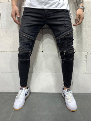 Sneakerjeans Black Zippered Skinny Biker Jeans AY768