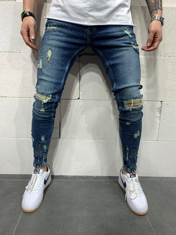 Sneakerjeans Blue Front Ankle Zipper Skinny Ripped Jeans AY771
