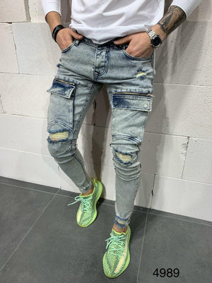 Sneakerjeans Blue Front Cargo Pocket Skinny Ripped Jeans AY770