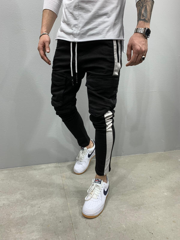 Sneakerjeans Black Striped Cargo Pant AY772