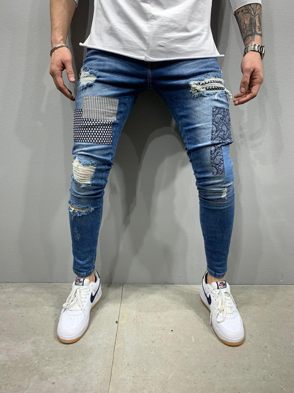Sneakerjeans Blue Patched Skinny Ripped Jeans AY774