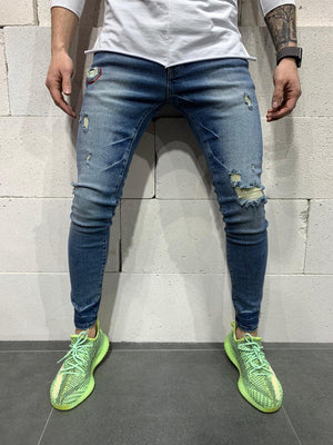 Sneakerjeans Blue Skinny Ripped Jeans AY776