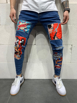 Sneakerjeans Blue Comic Patched Jeans AY778