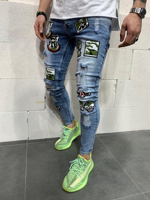 Sneakerjeans Blue Patched Skinny Ripped Jeans AY787