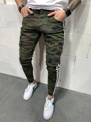 Sneakerjeans Khaki Camouflage Striped Skinny Jeans AY784
