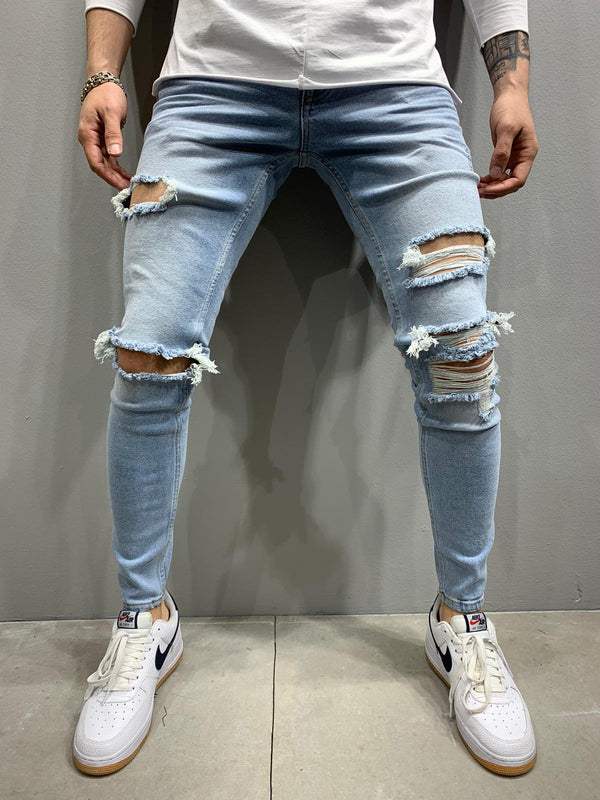 Sneakerjeans Light Blue Skinny Ripped Jeans AY792