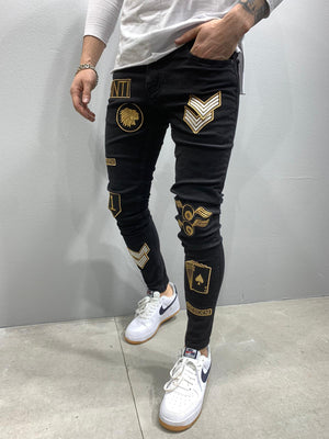 Sneakerjeans Black Patched Skinny Jeans AY796