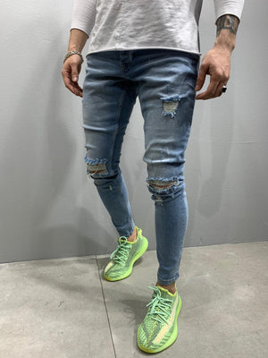 Sneakerjeans Blue Skinny Ripped Jeans AY791