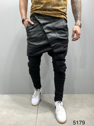 Sneakerjeans Black Asymetric Baggy Jeans AY817