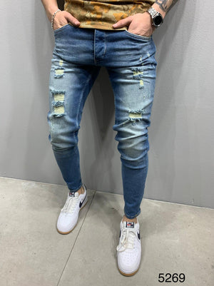 Sneakerjeans Blue Washed Skinny Ripped Jeans AY836