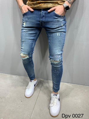 Sneakerjeans Blue Ripped Skinny Jeans AY832