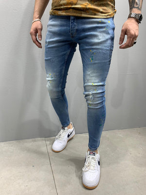 Sneakerjeans Colour Blobs Skinny Ripped Jeans AY828