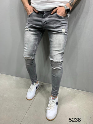 Sneakerjeans Gray Skinny Ripped Jeans AY070