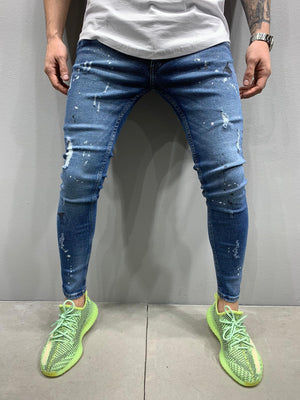 Sneakerjeans Blue Skinny Ripped Jeans AY864