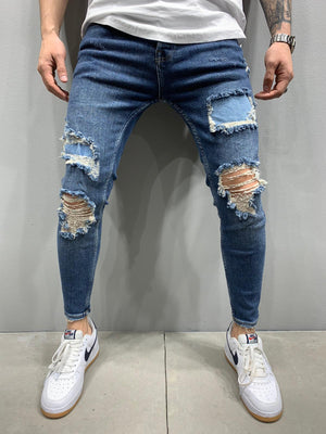 Sneakerjeans Blue Patched Ripped Skinny Jeans AY866