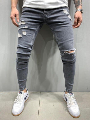 Sneakerjeans Gray Skinny Ripped Jeans AY872