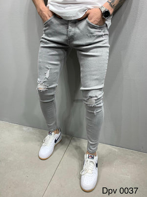 Sneakerjeans Light Gray Skinny Ripped Jeans AY874