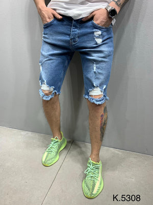 Sneakerjeans Blue Ripped Jeans Short AY886