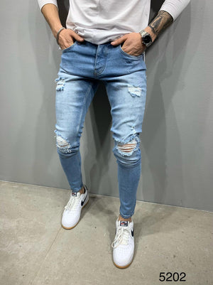 Sneakerjeans Blue Skinny Ripped Jeans AY889