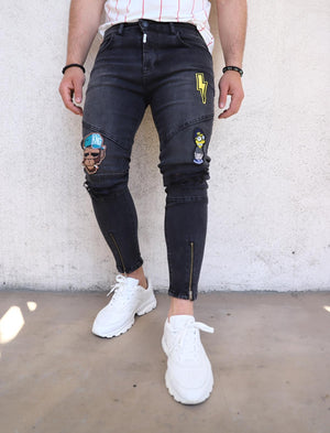 Sneakerjeans Patched Ankle Zip Black Ripped Jeans Ultra Skinny Jeans KB162