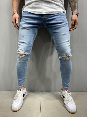 Sneakerjeans Blue Skinny Ripped Jeans AY067