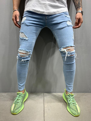 Sneakerjeans Light Blue Skinny Ripped Jeans AY892
