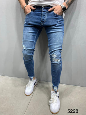 Sneakerjeans Blue Ripped Jeans AY907