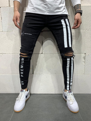 Sneakerjeans Black Striped Skinny Ripped Jeans AY901