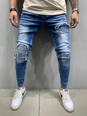 Sneakerjeans Navy Skinny Patched Ripped Jeans AY914