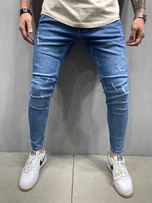 Sneakerjeans Blue Skinny Ripped Jeans AY919