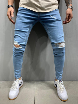 Sneakerjeans Blue Skinny Ripped Jeans AY925